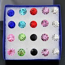 10 Pairs 8MM fashion Multi-color Artificial Crystal Earrings ED67