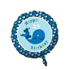 "18"" Ocean Baby Blue Whale Happy Birthday  Party Foil Balloon"