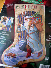 """Bucilla Counted Cross Holiday Stocking KIT,FATHER CHRISTMAS,Rossi,84636,Size 18"""""""