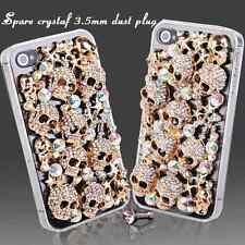COOL LUXURY 3D BLING GOLD SKULL DIAMANTE PROTECTIVE CASE COVER FOR IPHONE 5 5S