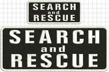 Search and Rescue embroidery patches 4x10 and 2x5  hook on back black white
