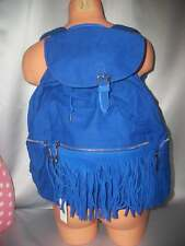 Victorias Secret Pink Stunning Blue Fringe Backpack Tote Bag FULL SIZE NWT