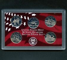 "2001 'S' USA Proof Silver ""State Quarter Set"" 5 Coins Encased"