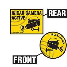 IN CAR CCTV CAMERA STICKERS X2 FOR FRONT AND REAR - CRIME / ACCIDENT PREVENTION