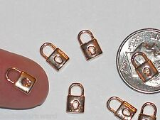 2pc Miniature dollhouse tiny little Gold plated Lock charm 3d