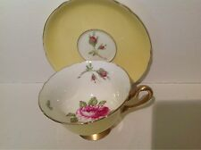 Shelley Canary Yellow Pink English Rose Gainsborough Tea Cup And Saucer