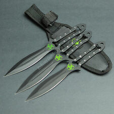 "3 Pc 7"" Ninja Tactical Combat Throwing Knife Set Hunting With Belt Sheath"
