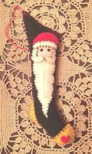 "CHRISTMAS ORNAMENT: HANDMADE ""HAND STITCHED""  FELTED WOOL 6"" STOCKING - ""SANTA"""
