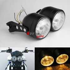 "Dominator Matte Black Dual 4"" Headlights Streetfighter Cafe Racer GSF600"