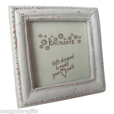 Enchante Vintage Style Small Cream Square Photoframe - Shabby Chic - Wooden