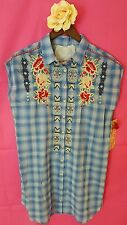 3J WORKSHOP l large PLAID Cora Button Back Easy Tunic JWLA Johnny Was new nwt