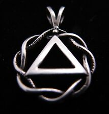 Sterling Silver Alcoholics Anonymous AA Symbol Celtic Weave Pendant Jewelry   20