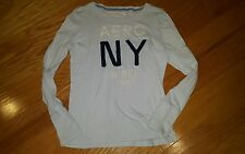 AEROPOSTALE womens girl LONG SLEEVE LOGO SHIRT size xl New York baby blue