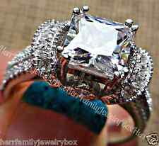Estate Diamond cut White Sapphire 14k WG .925 Sterling Silver Engagement Ring 6