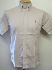 Ralph Lauren POLO men's Brown Short Sleeve Casual Shirt Regular Fit Size S 34-36