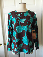 Carole Little 100% Rayon City Floral Brown Turquoise Long Sleeve Top Blouse - 8