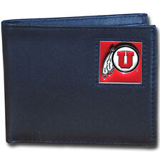 utah utes logo ncaa college leather bi-fold wallet usa made