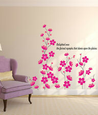 Wall Stickers Flowers in Pink Self-Adhesive Beautiful Art Skirting Border