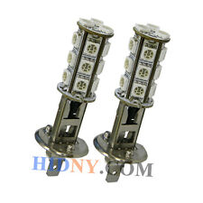 A Pair Of H1 18-SMD 5050 LED SMD Fog Lights DRL Driving Lamp Amber Color Strobe