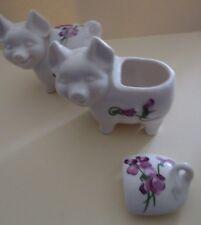 Porcelain Pig Trinket Holder With Flowers- Set of 2