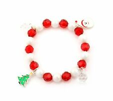 Zest Father Christmas Bracelet with Trees & Beads Red & White