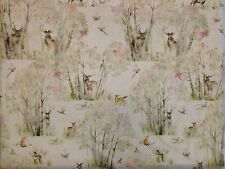VOYAGE DECORATION ENCHANTED FOREST LINEN RAPUNZEL CURTAIN FABRIC DEER STAGS UK