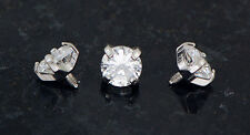 3 Pc Clear 4mm CZ Extra Bling Prong Set Gem Dermal Anchors Heads Top 14g