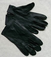VINTAGE MENS DRIVING GLOVES SOFT LEATHER BLACK MEDIUM 1960'S 1970'S MOD