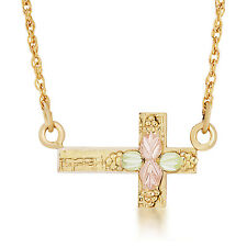 Black Hills Gold cross pendant sideways womens inspirational 18 inch necklace