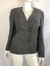 EASTEX PURE NEW WOOL GREY LINED COLLARLESS BLAZER / SMART JACKET SIZE 12