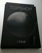 New-Topshop-- size S/M-Over the Knee Black Tights with Glitter thigh trim