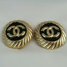 CHIC VINTAGE CHANEL ENAMEL MONOGRAM CC logo EARRINGS * MADE IN FRANCE CLIP