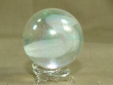 Vintage Bubbled & Swirled White Glass Playing Collectable Shooter Marble 1.25""