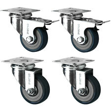 "Heavy Duty Rubber Swivel Castor Wheels, 4-Pack (50MM/2"")"