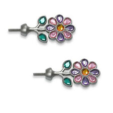 Cambria Kidz Finials Pair Sparkle Gem Flowers Purple Pink Green Curtain Rod NEW