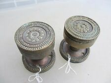 Vintage Brass Door Knobs Handles Beading Flower Gilt Leaf Architectural Antique
