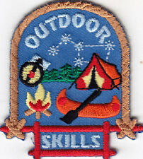 """OUTDOOR SKILLS"" IRON ON EMBROIDERED PATCH -Camping, Vacation, Outdoors, Woods"