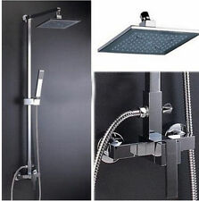 "Chrome Brass Wall Mounted 8"" Bathroom rain Shower Bath Tub Mixer Tap Faucet Set"