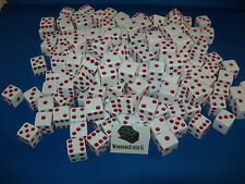 WHITE DICE w/ RED PIPS 16mm (200 PACK) BUNCO PARTY FREE SHIPPING
