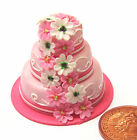 1:12 Scale Three Tier Wedding Cake Dolls House Miniature Food Accessory H