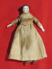 Antique dollhouse size porcelain head doll with sawdust filled body
