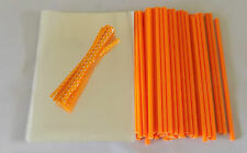 "50 x ORANGE CAKE POP KIT 6"" LOLLY STICKS 4""x 6""(100x150mm)CELLO BAGS & POLKA TIE"