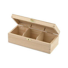 Bare Wood Rectangular Tea Box - 3 Compartments