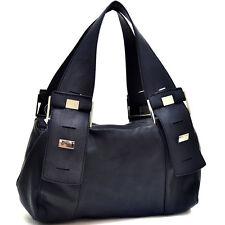 Women Leather Handbag Hobo Bag Silver Button Accent Shoulder Bag - Black