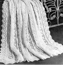 Vintage 3ply Baby  Shawl-Knitting pattern-Diamond centre with eyelet peaks 50x50