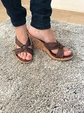 River Island Real Brown Leather Slip On Mules Wedges Size 8