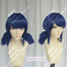 Anime Miraculous Ladybug Marinette Blue mixed Cosplay party wig with two Bunches