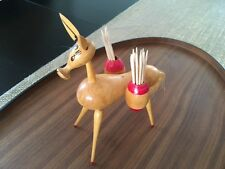 Vintage mid century Donkey/Burro wooden tooth pick holder/hand crafted