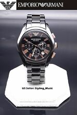 NEW Emporio Armani AR1410 Men's Rose Gold Black Ceramic Chronograph Watch
