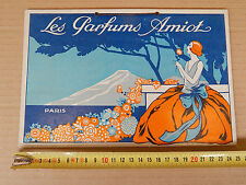 INSEGNA VINTAGE CARTON PUBLICITAIRE ART DECO PARFUMS AMIOT SIGN OLD